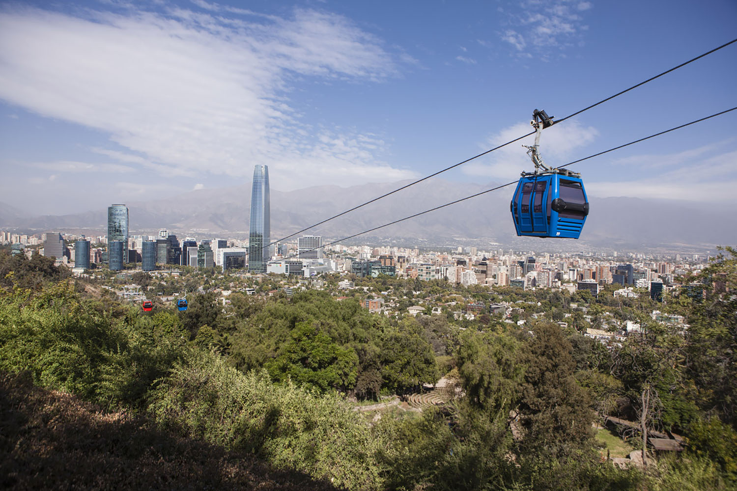 A cable car cruises to the top of Cerro San Cristóbal in Santiago, Chile.
