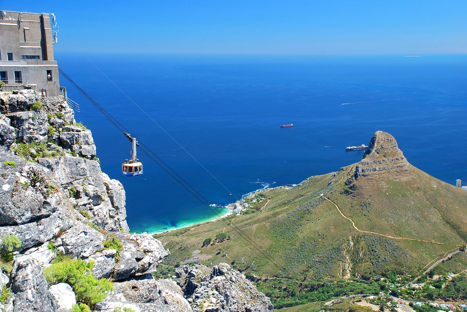 The cable car leading to the top of Table Mountain in Cape Town.
