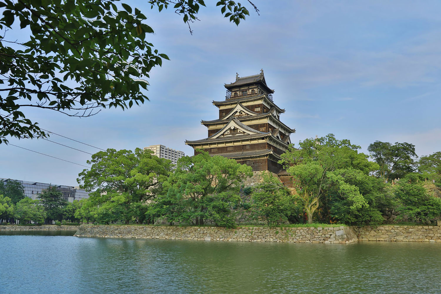 Exterior of Hiroshima Castle in Hiroshima, Japan