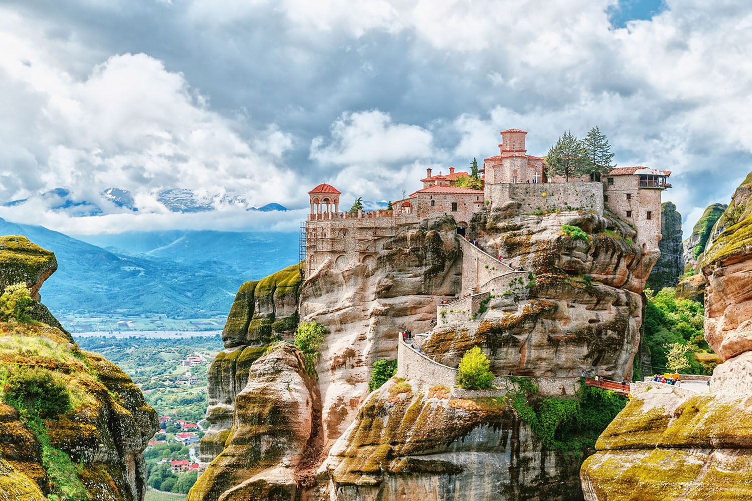 The Meteora Monasteries atop a cliff in Meteora, Greece