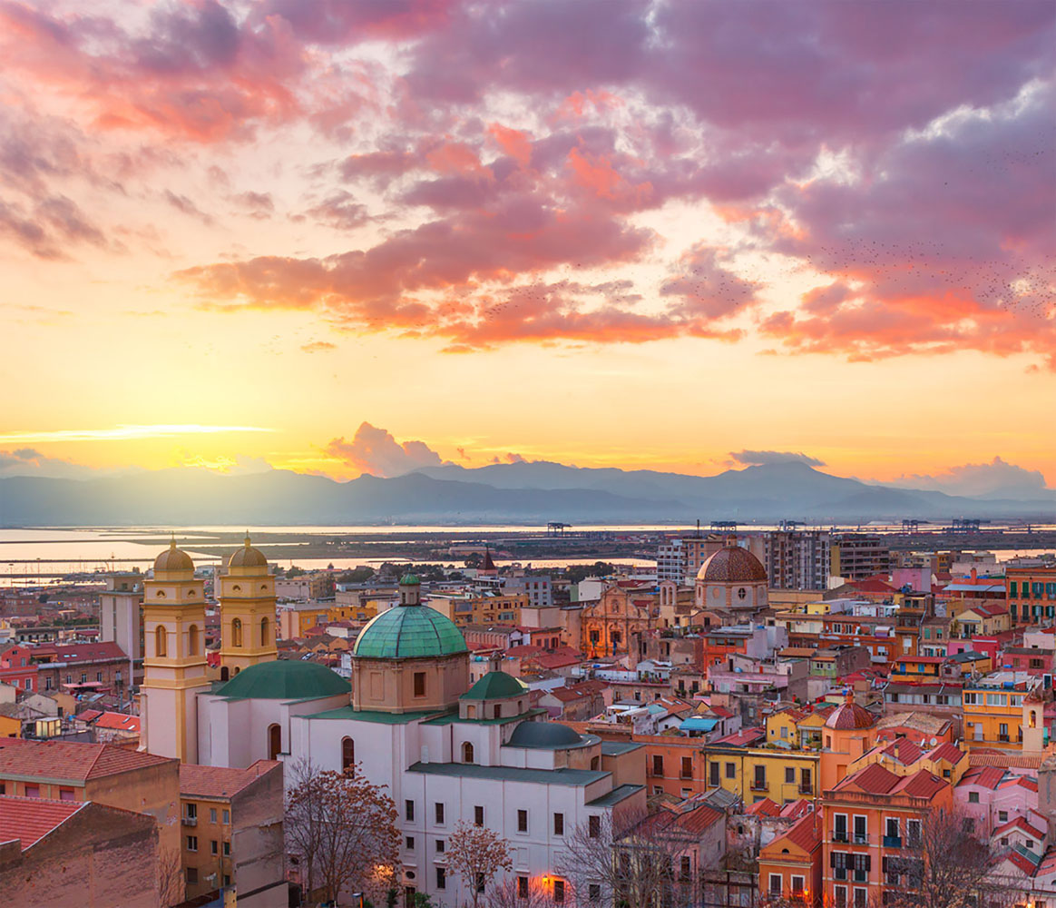 Cagliari skyline at sunset