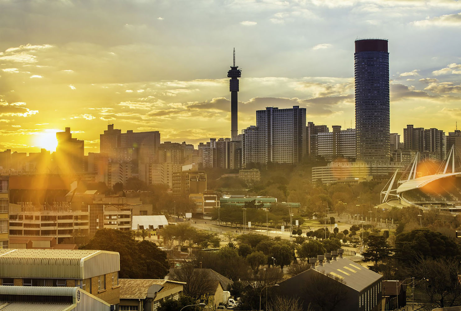 The city skyline of Johannesburg, South Africa in the early evening