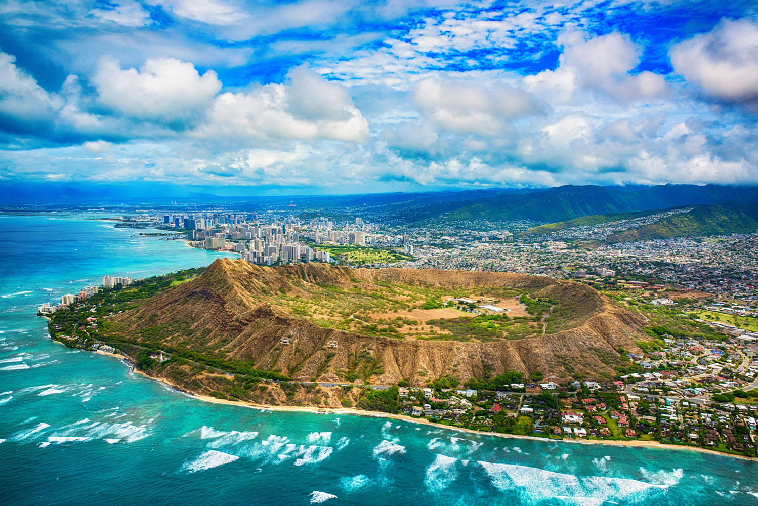An arial view of Diamond Head State Monument near Honolulu in Hawaii
