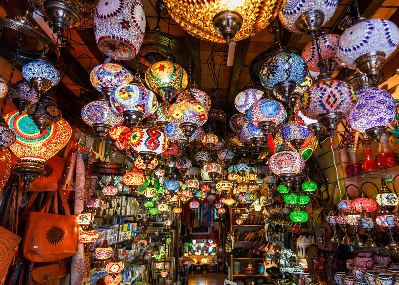 Lanterns and lamps in the market of Marrakesh, Morocco.