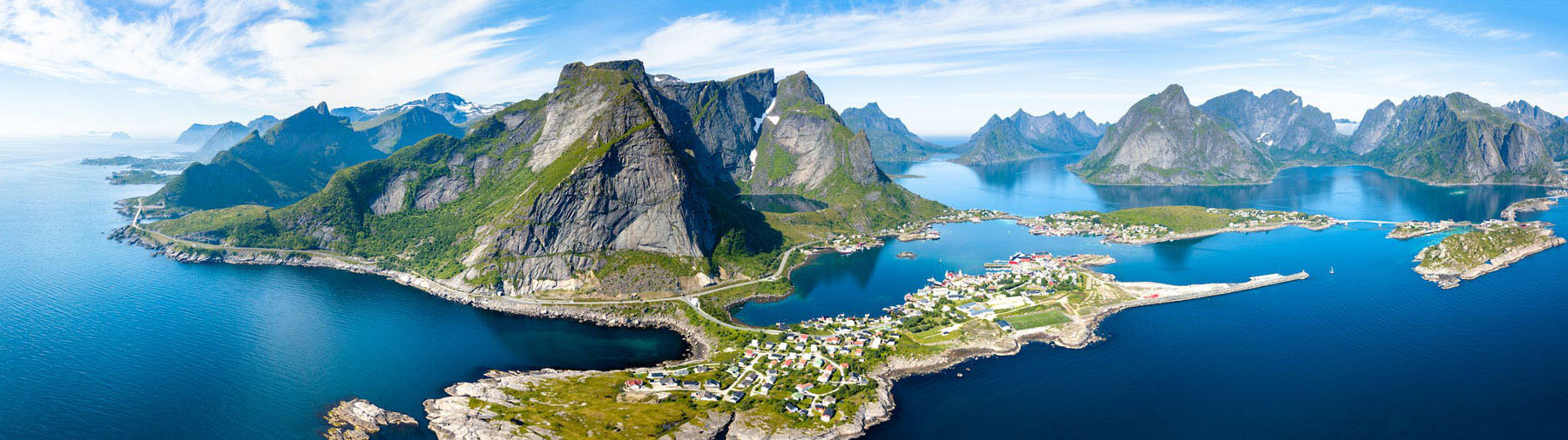 An aerial panoramic view of Lofoten, Norway in the Norwegian Fjords.