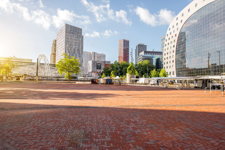 central square and market hall during the morning in Rotterdam city