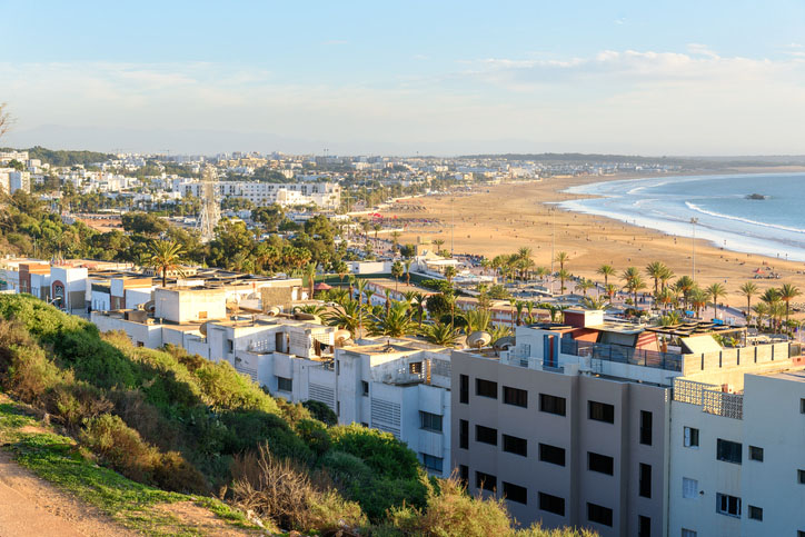 A beach view in Agadir city, Morocco