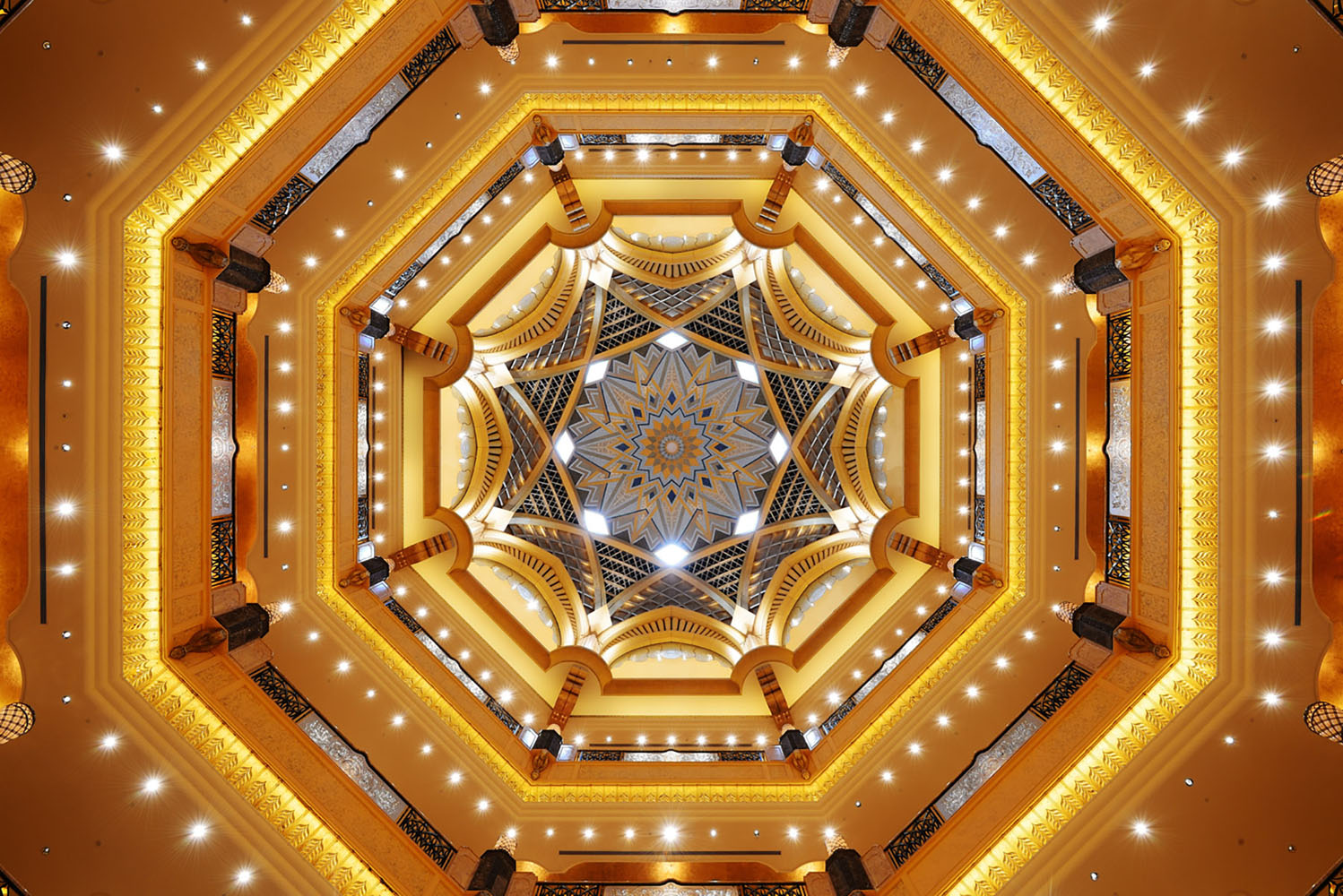 The colorful ceilings in The Emirates Palace