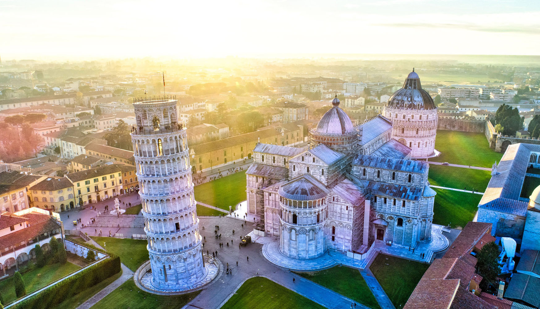 An aerial view of the Leaning Tower of Pisa.