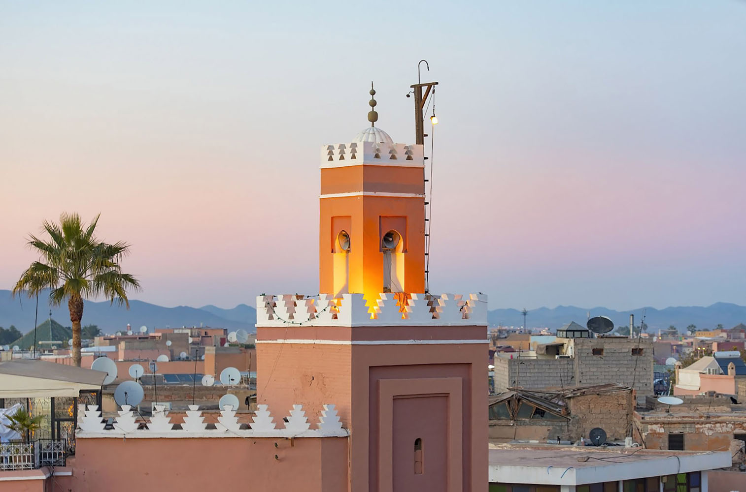 Marrakesh with the old part of town Medina and minaret