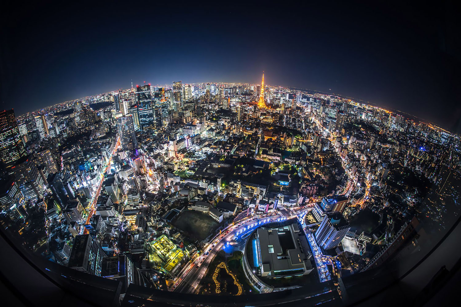 An aerial view of Tokyo, Japan at night.