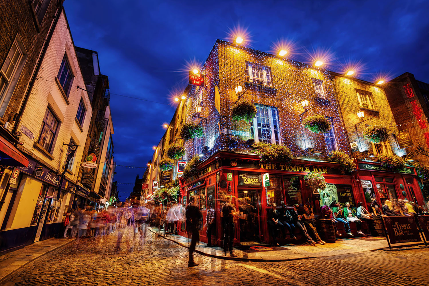 The Temple bar in Dublin at night.