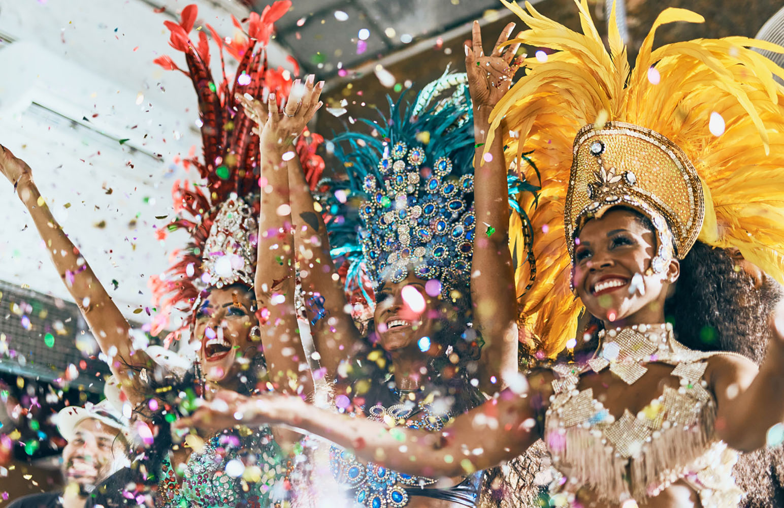 Samba dancers perform during a carnival