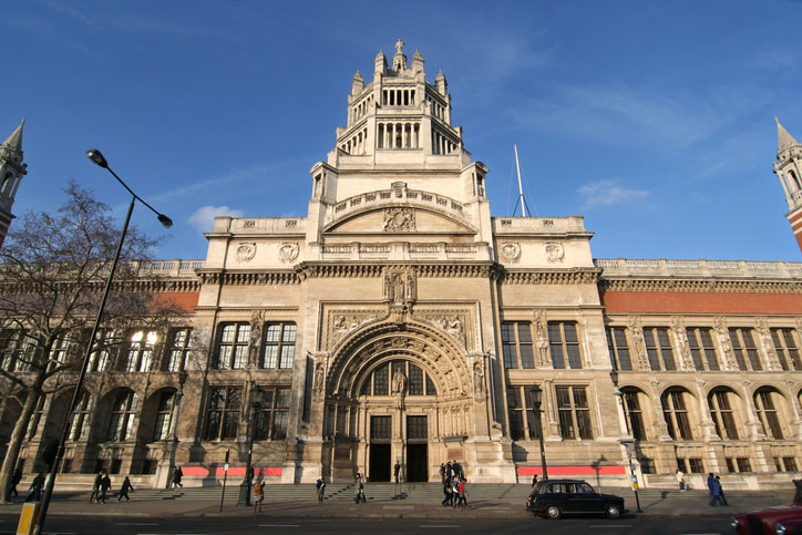 An exterior shot of the Victoria & Albert Museum in London, England