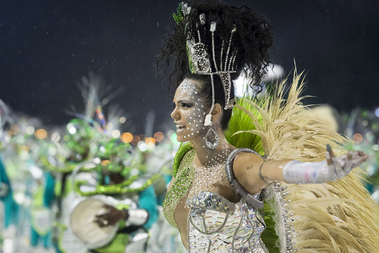 A young woman in costume at the Brazilian carnival
