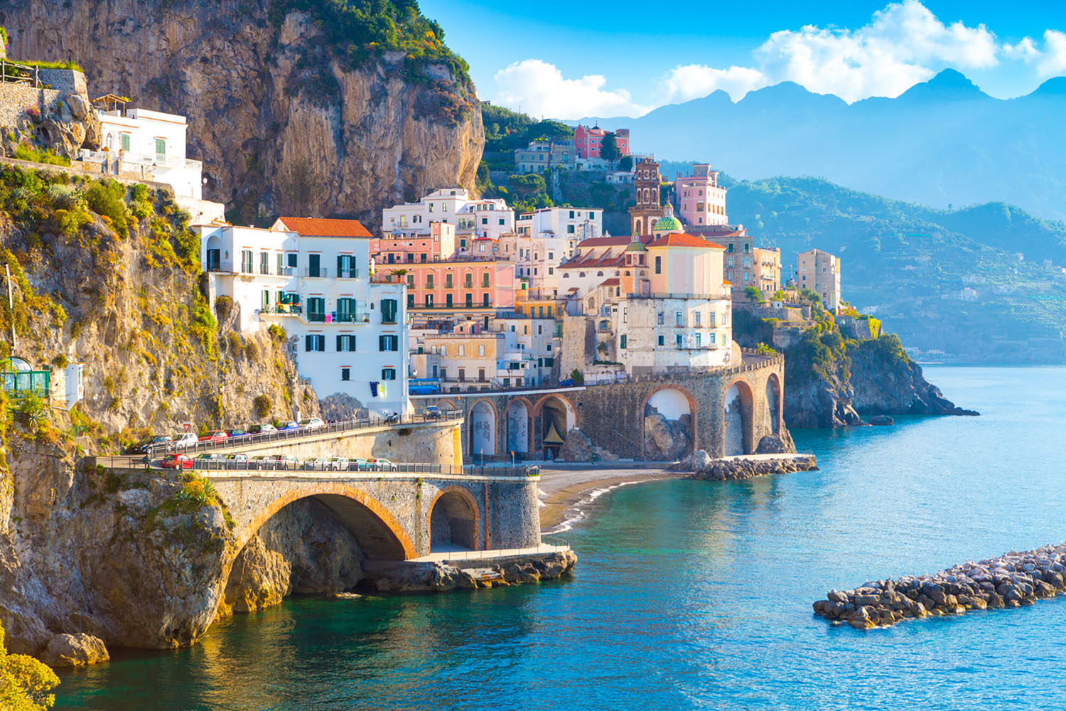 Morning view of Amalfi coast line in Italy