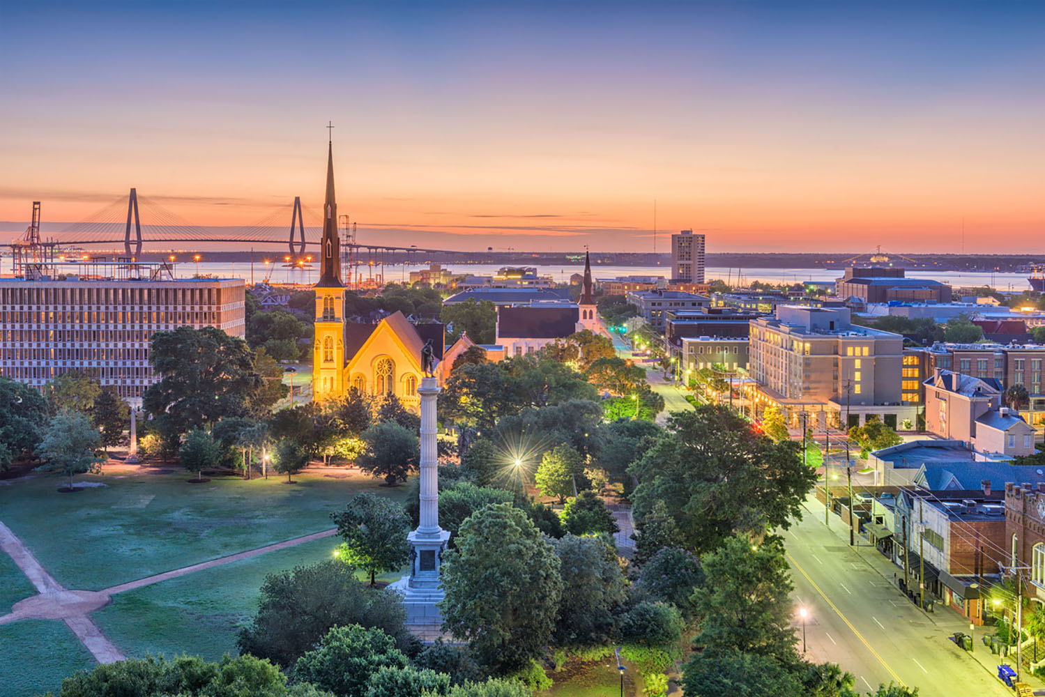 The city of Charleston, South Carolina at sunset