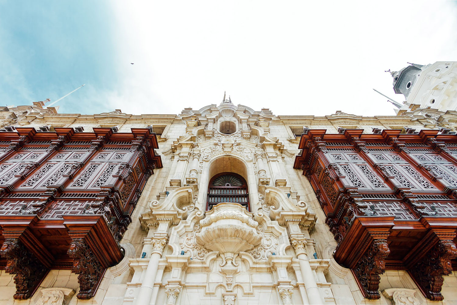 Carved wooden balconies of the archbishopric of Lima, Peru