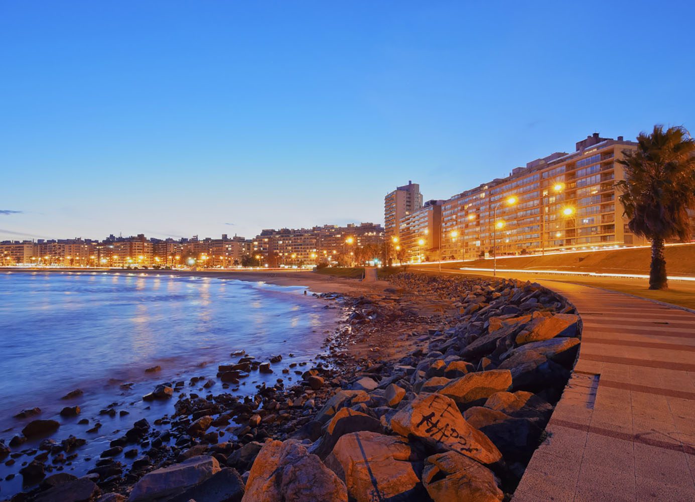 Twilight view of the Pocitos Coast on the River Plate, Montevideo, Uruguay