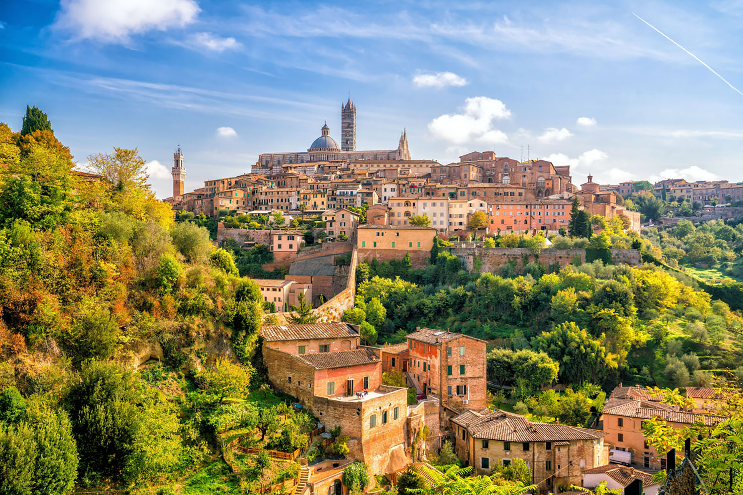 The skyline of Siena in Tuscany, Italy.