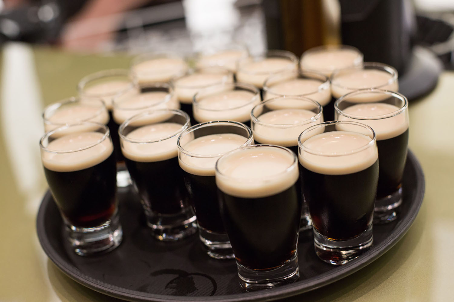 A tray of Guinness Beer samples.