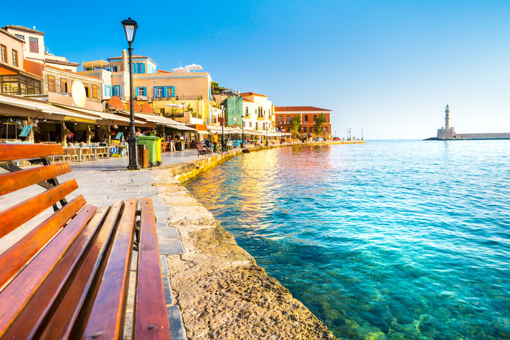 View of the old port of Chania, Crete, Greece