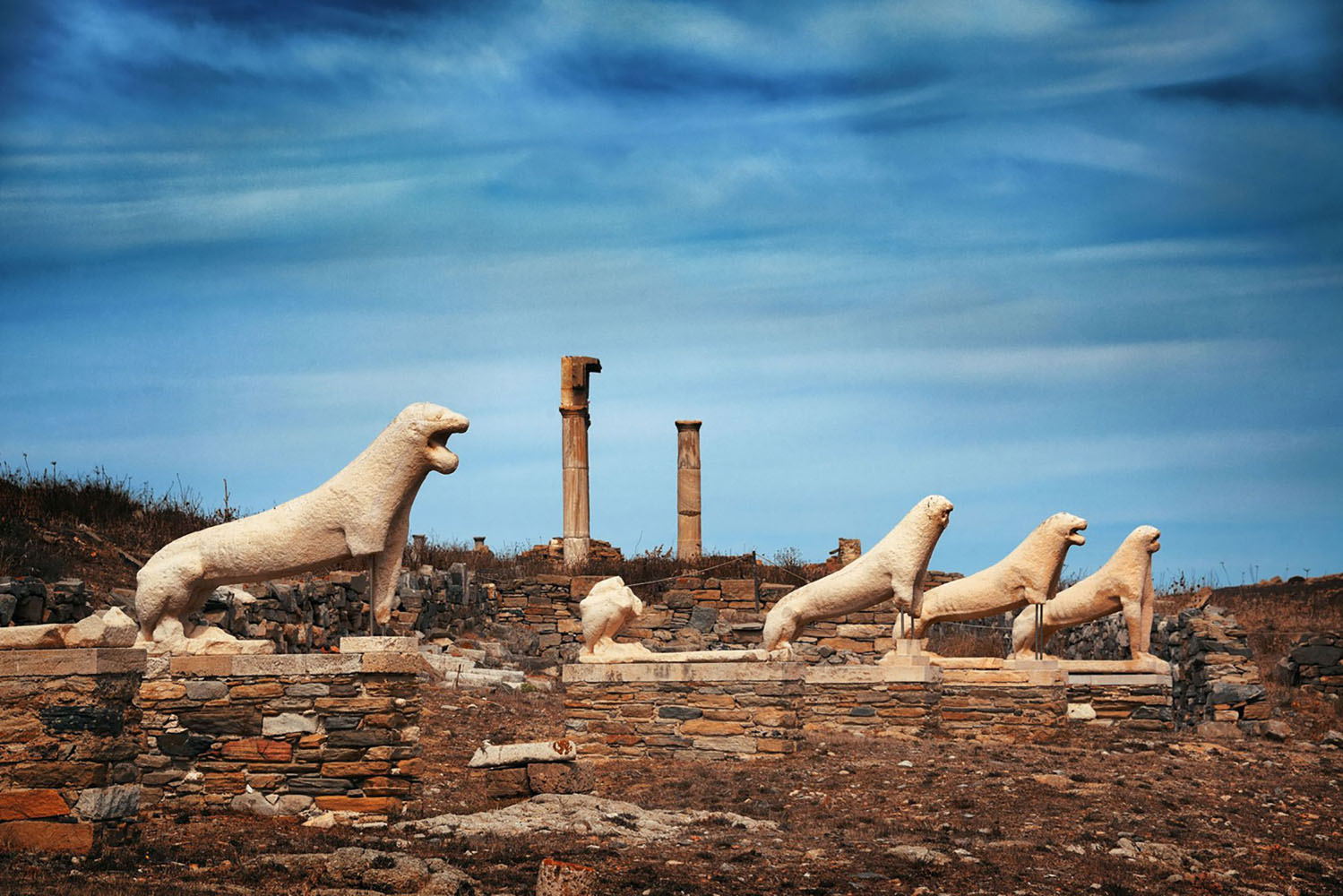 The Terrace of the Lions in Delos, Greece.