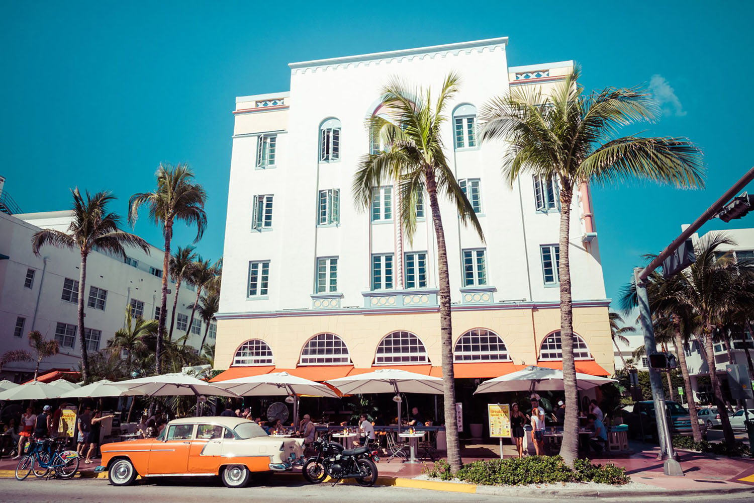 Vintage Car Parked along Ocean Drive in South Beach. Miami, Florida