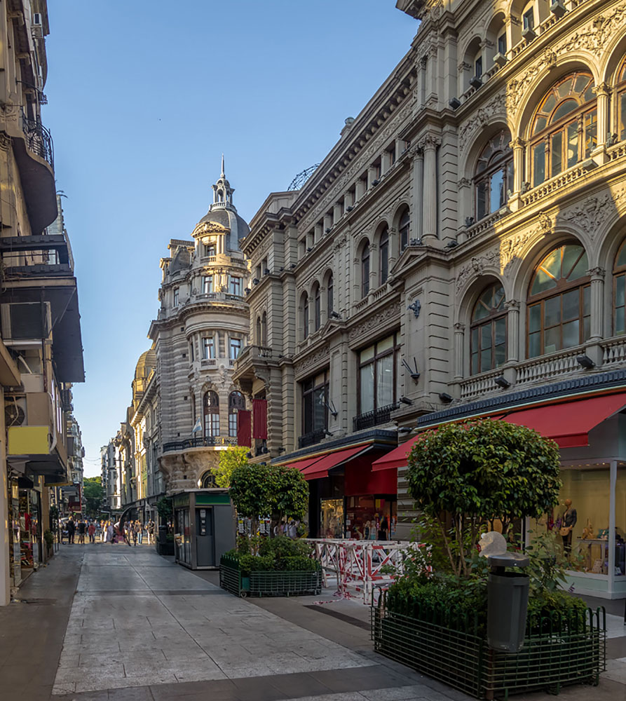 A pedestrian street in the shopping district of Buenos Aires on a clear day