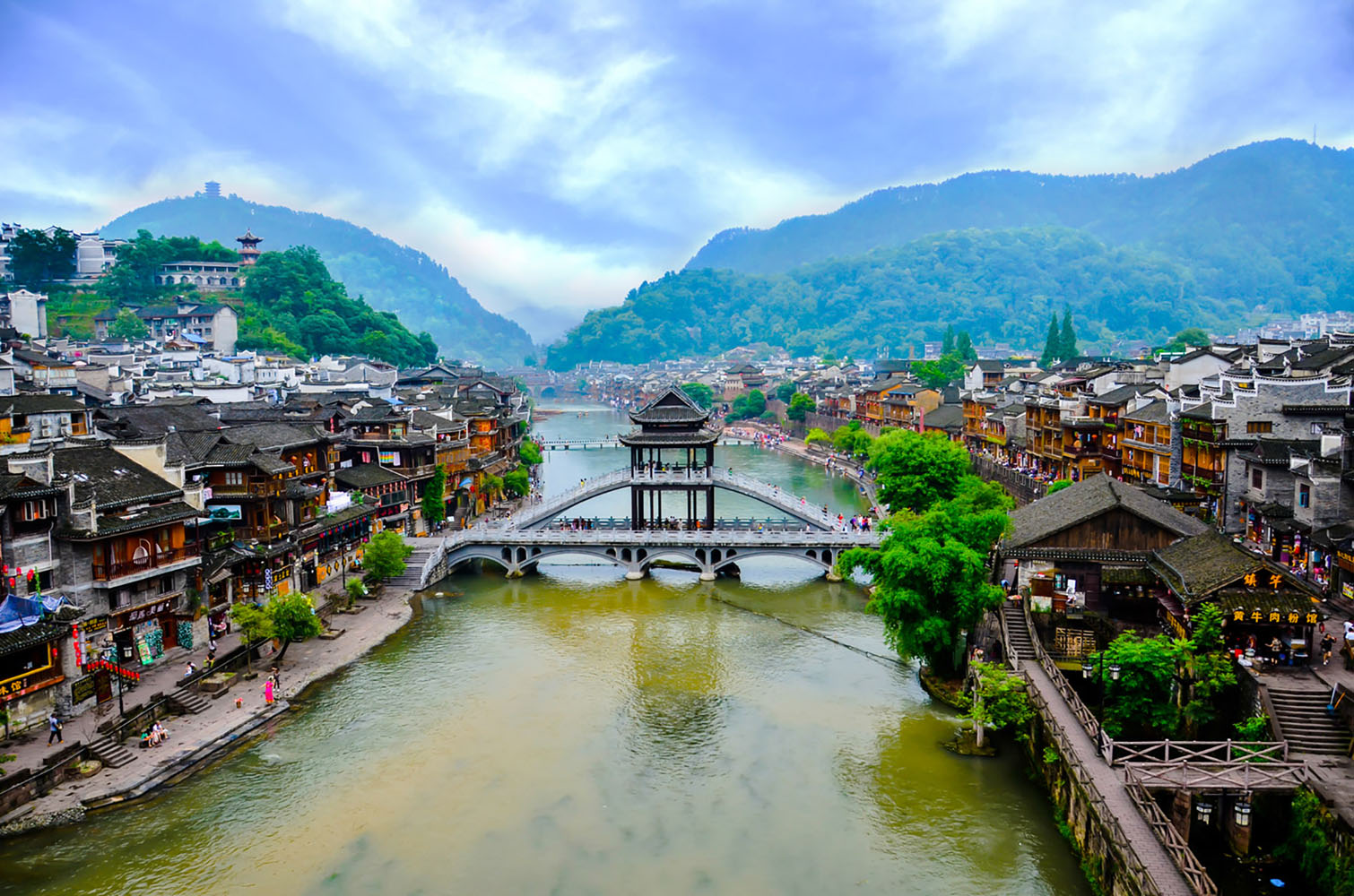 Old houses along the water in Fenghuang county in Hunan, China.