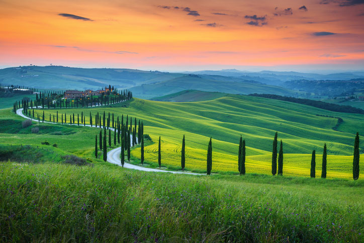 Tuscany landscape at golden hour with curved road and cypress trees