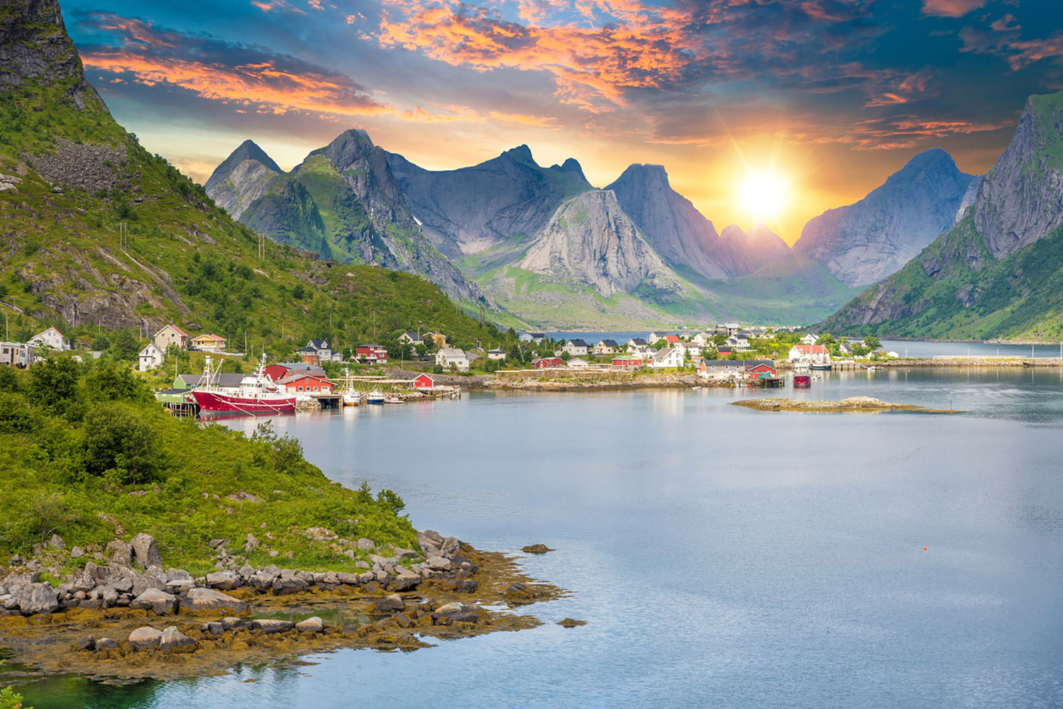 Sunset in the Lofoten Islands in Norway.