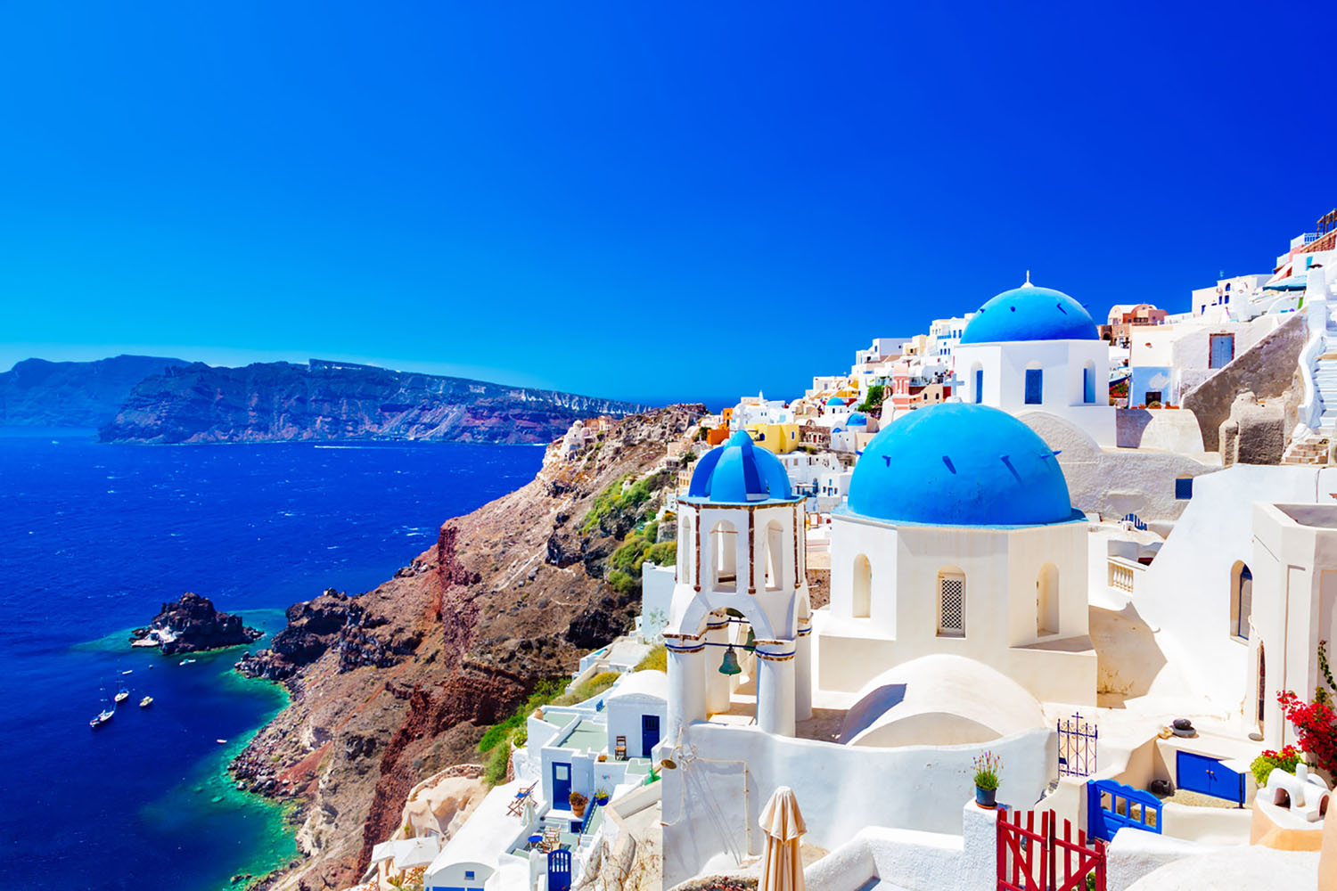 A landscape photo of Santorini, Greece.