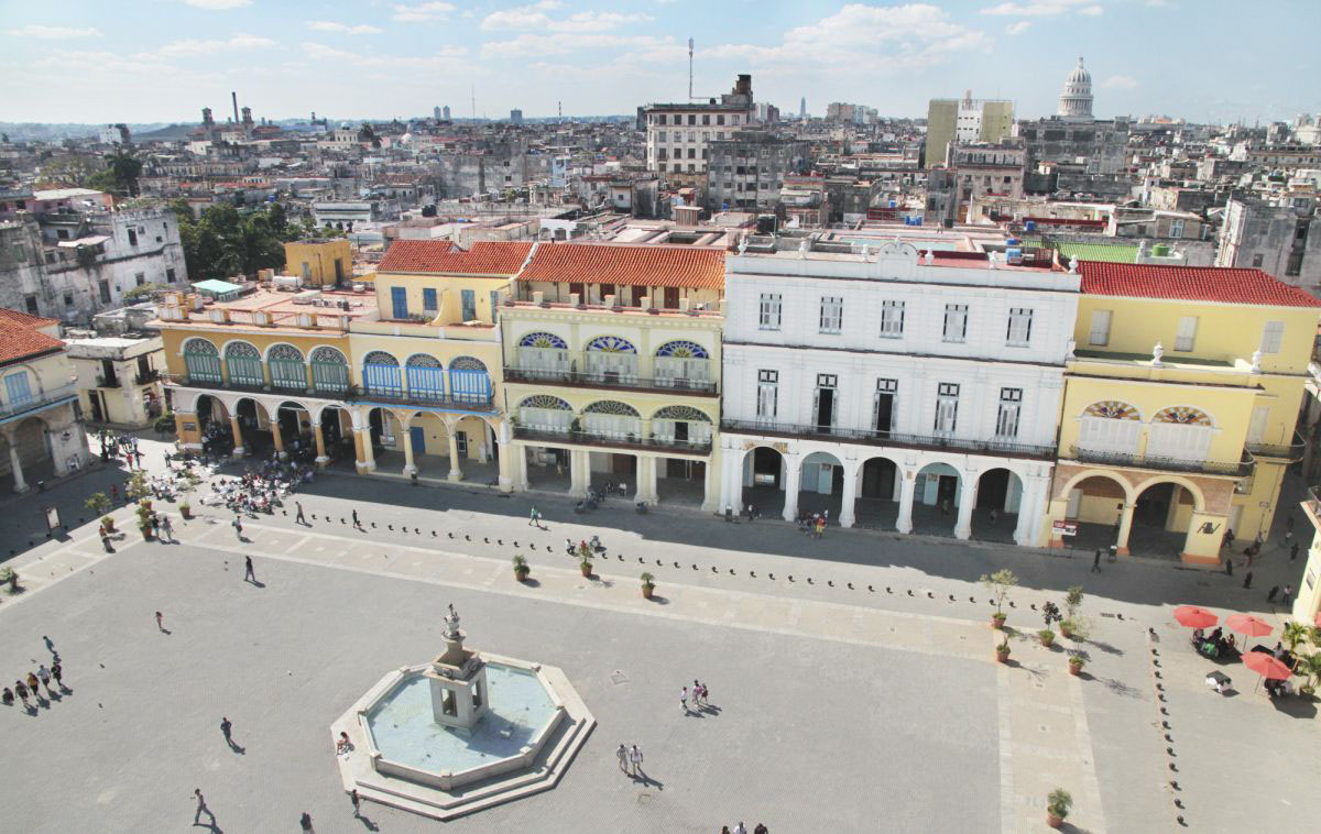 An aerial view of Plaza Vieja in Havana, Cuba