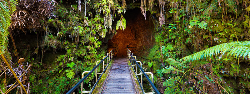 A bridge leading into a volcano at the Hawaii Volcanoes National Park in Hilo, Hawaii