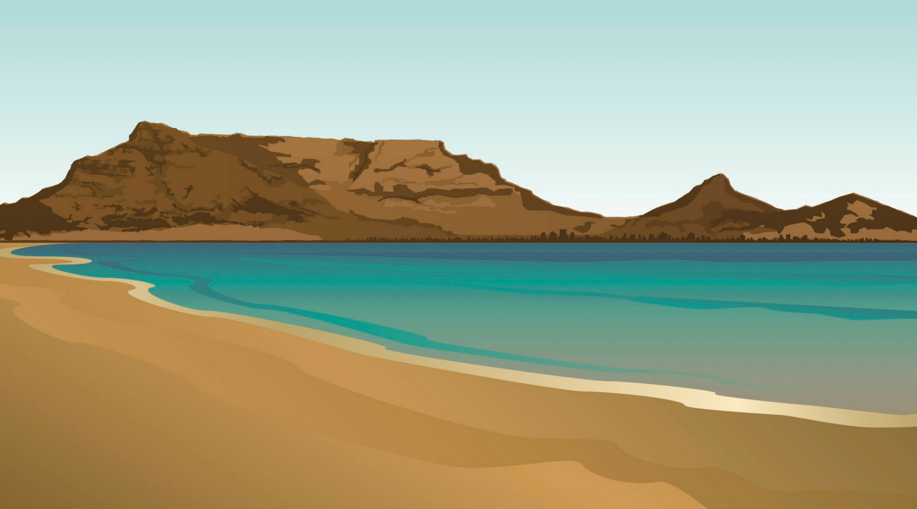 An illustration of Table Mountain in Cape Town, South Africa.