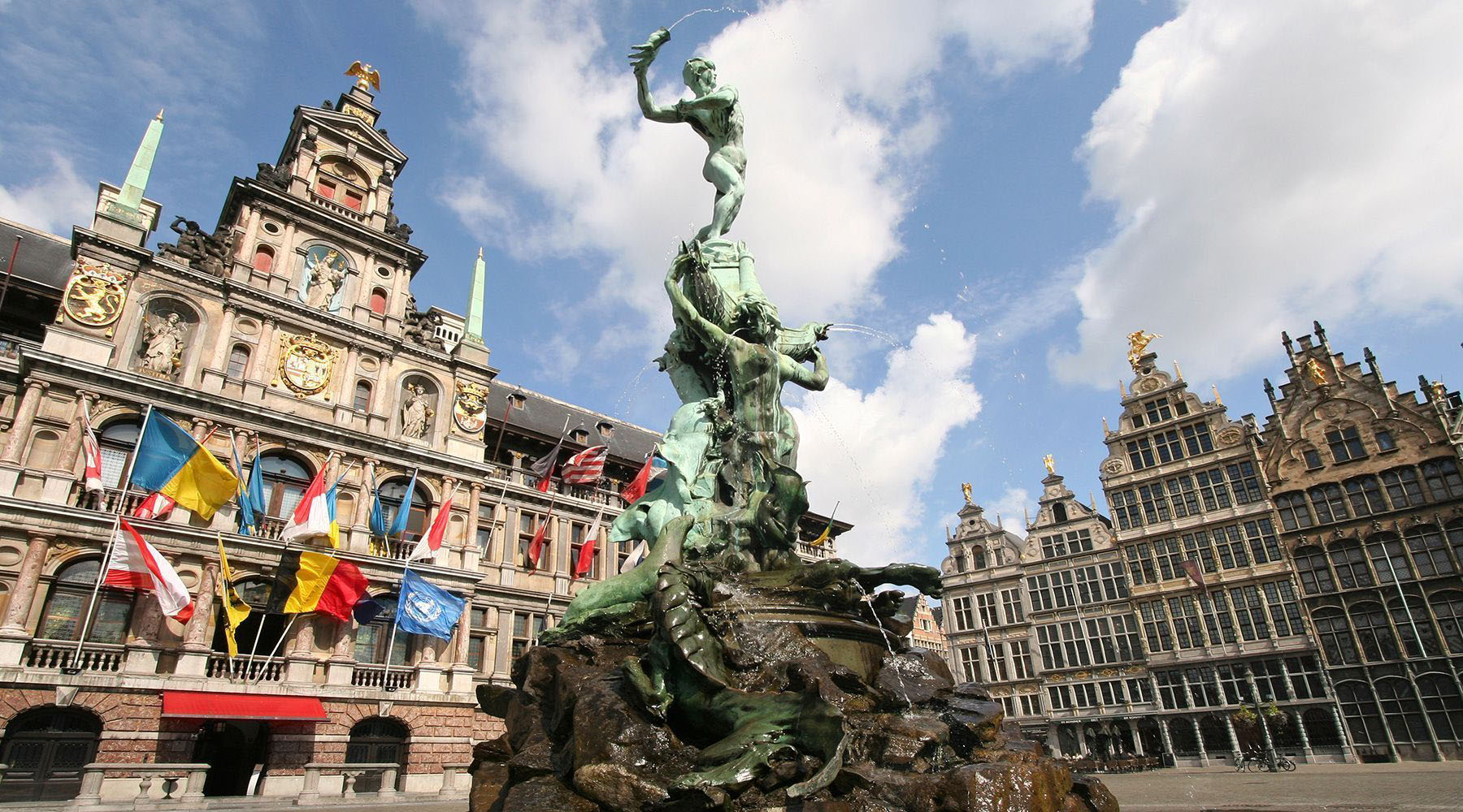 The Brabo Fountain in the Grote Markt of Antwerp, Belgium