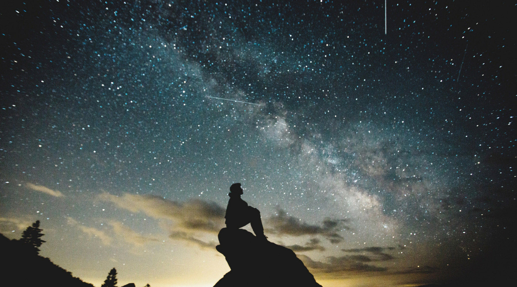 The silhouette of a person looking up at a starry sky.