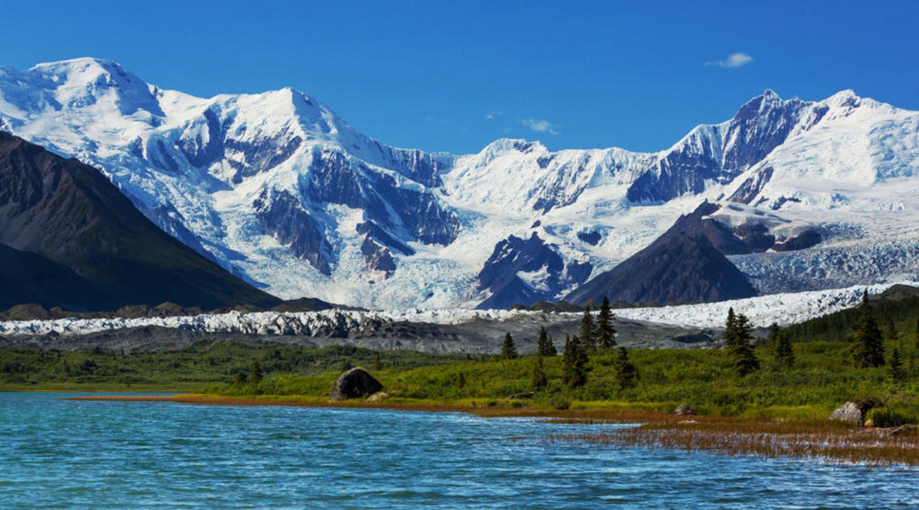 alaska's inside passage landscape of mountains and lake