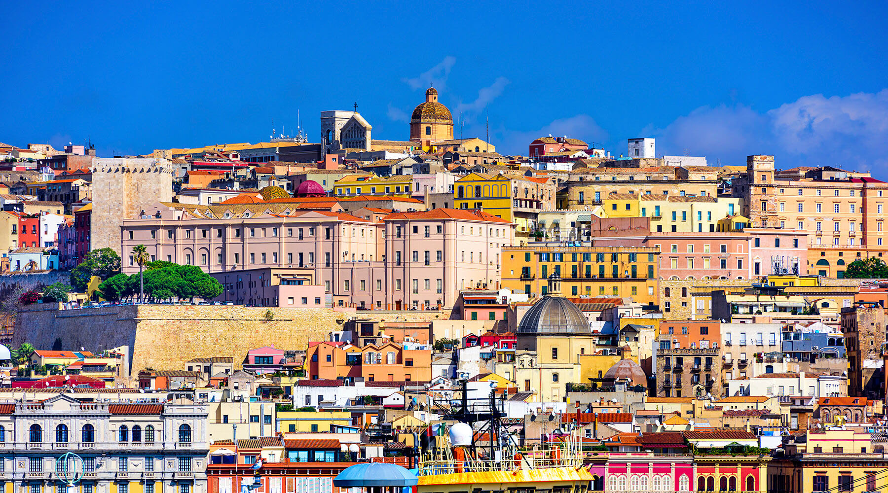 Colorful buildings in Cagliari Sardinia, Italy