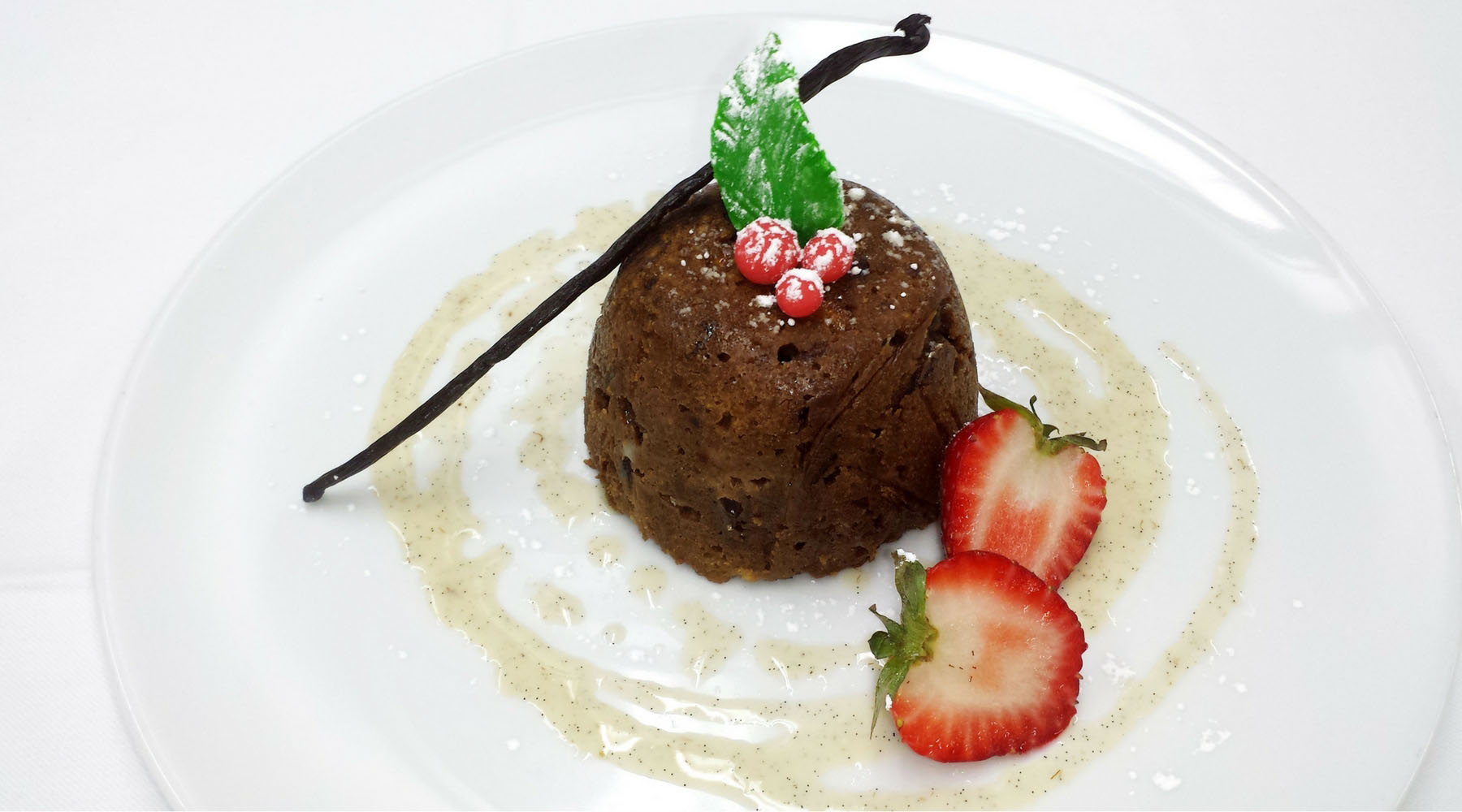 Azamara's Warm English Christmas pudding with Brandy Crème Anglaise