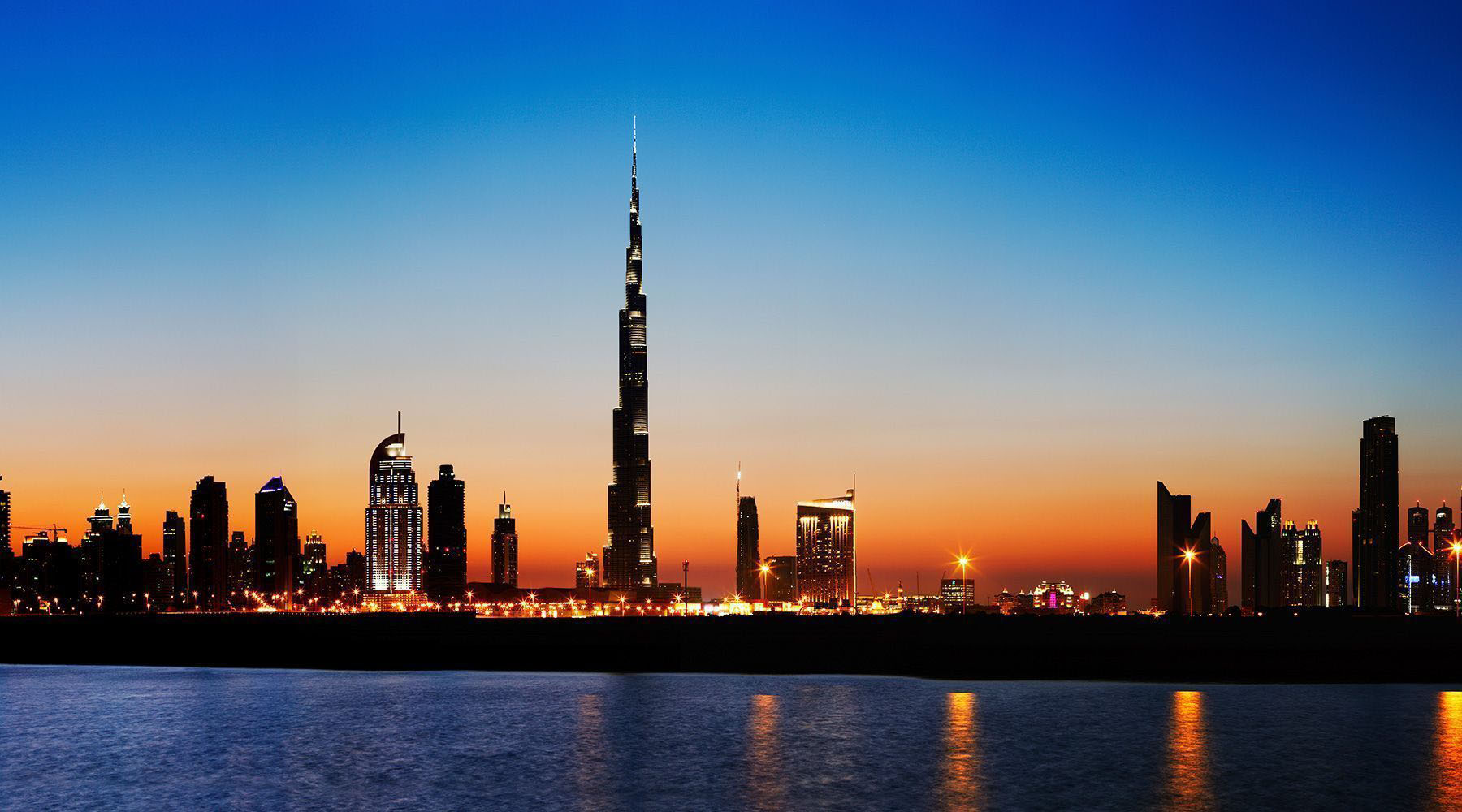 The Burj Khalifa and the skyline of Dubai, UAE
