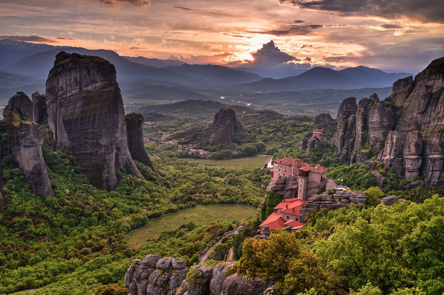 Beautiful sunset on the valley of the monasteries of Meteora, Greece