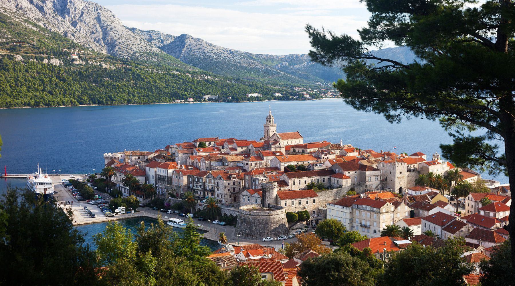 The beautiful city of Korcula, Croatia surrounded by water and mountains