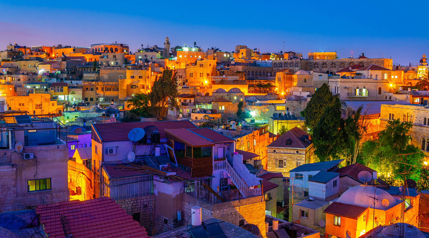 Israeli city at night