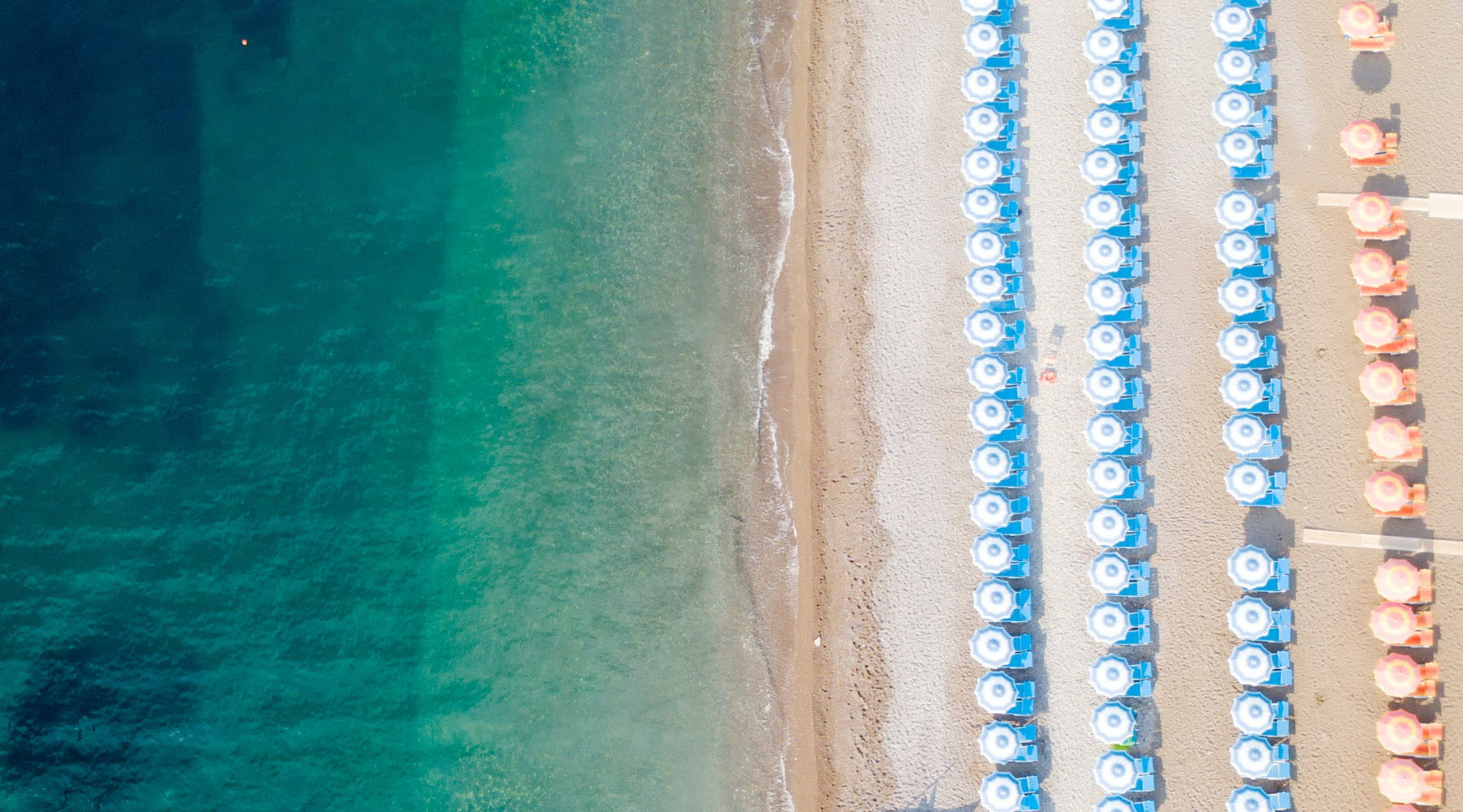 An aerial view of a beach in the Mediterranean.
