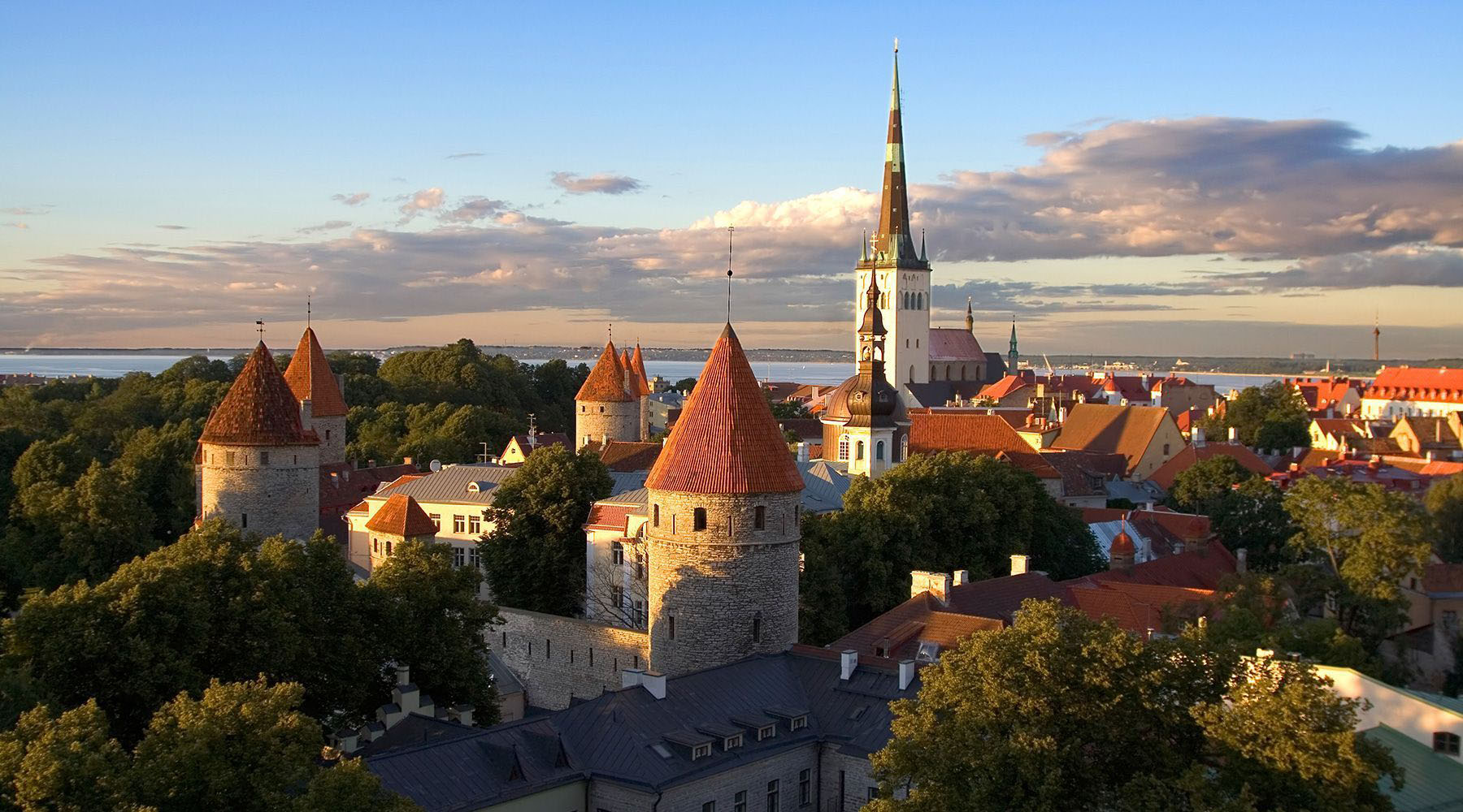 The iconic red tiled roofs of Tallinn, Estonia