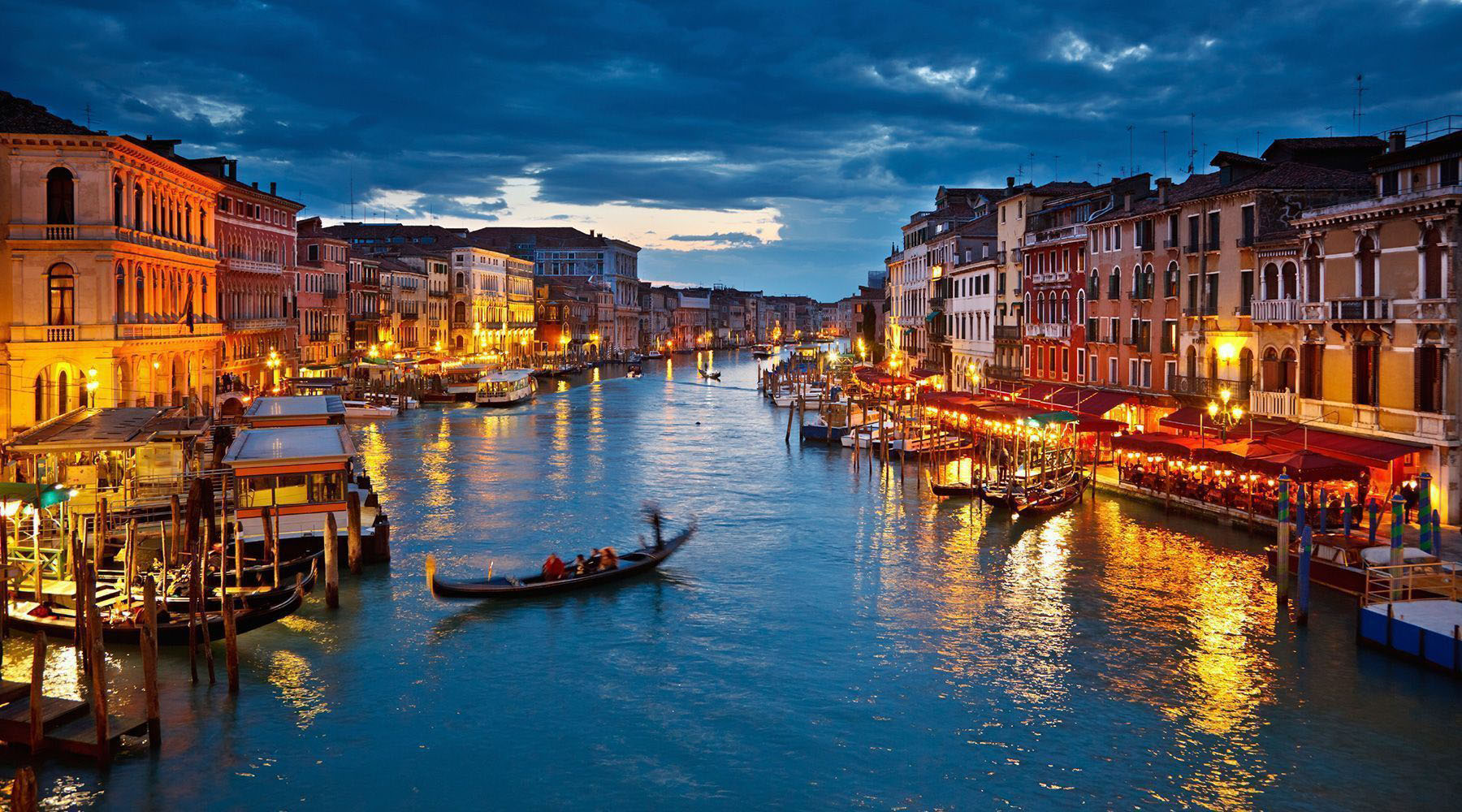 The canals of Venice Italy at night