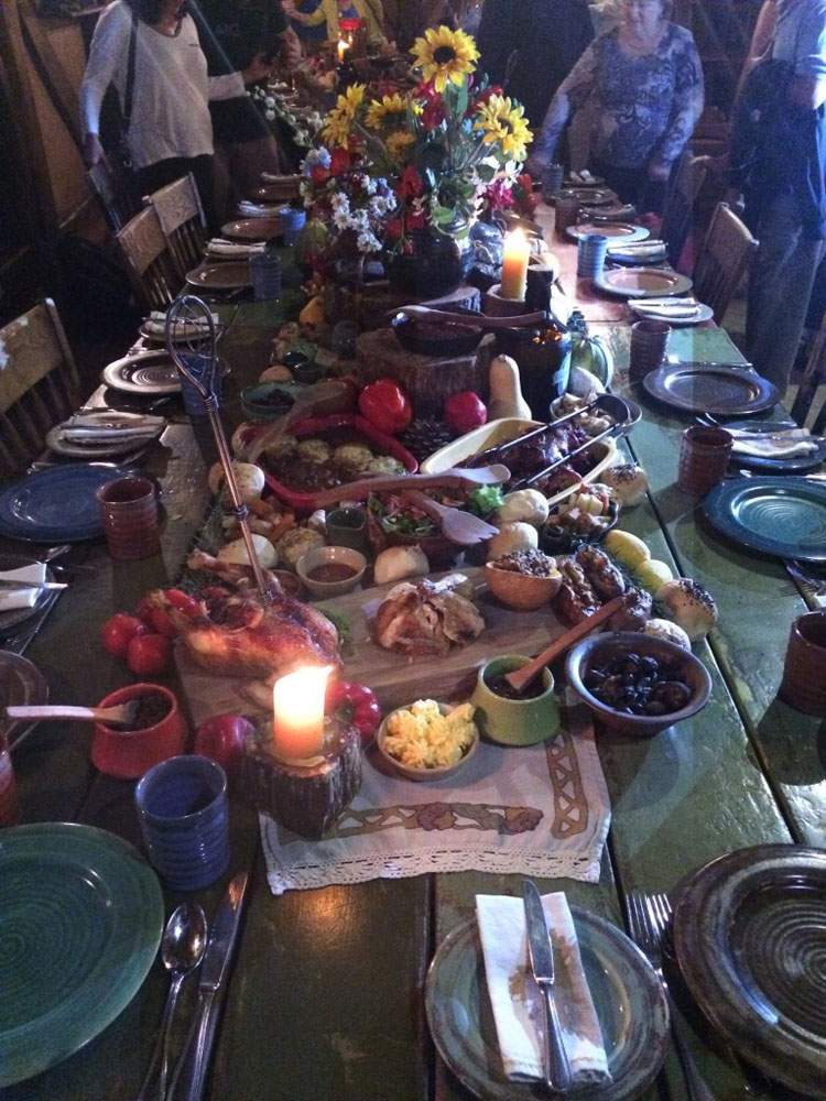 A feast set up for the Hobbiton tour participants