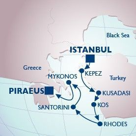 7 Night Sultan's Palace To Greece Voyage - Itinerary Map
